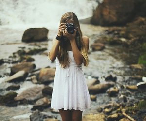girl, camera, and dress image