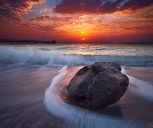 rock, sea, and sunset image