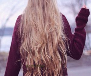 blonde, burgundy, and long hair image