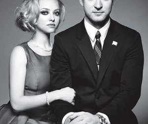justin timberlake, amanda seyfried, and black and white image
