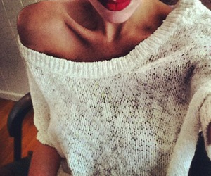 lips, red, and sweater image