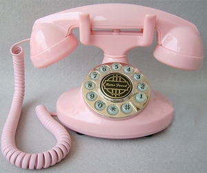 pink, telephone, and phone image