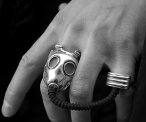 awesome, black and white, and gasmask image