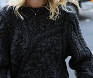 black, knit, and sweater image