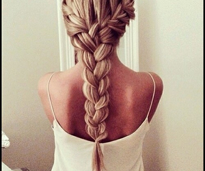 blonde, braided hairstyle, and braid image