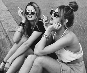 black and white, cigarette, and girls image