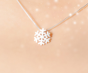 girl, necklace, and snow image