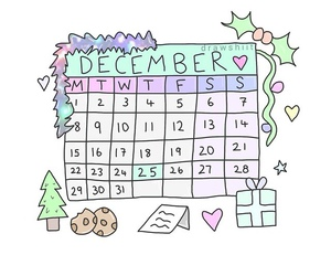calender, Cookies, and december image
