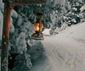 lamppost, rustic, and winter image
