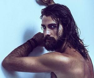 beard, blue eyes, and model image