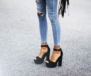 denim, fashion, and high heels image
