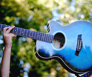 blue, guitar, and hands image