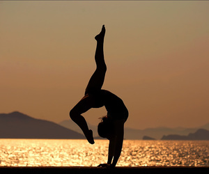 beach, gymnastics, and sunset image