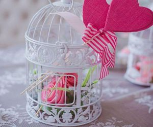 cage, flowers, and heart image