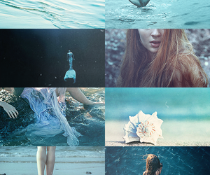 mermaid, blue, and sea image