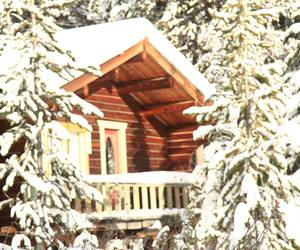 cabin, snow, and whimsical image
