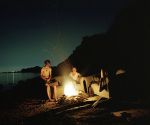 friends, fire, and night image