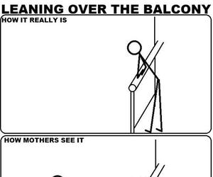 funny, balcony, and mother image