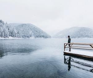 bridge, lake, and white image