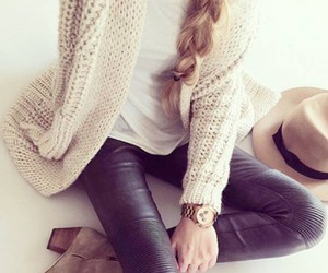boots, braid, and cardigan image