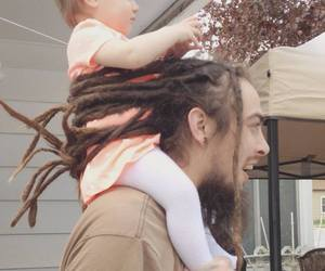 baby, dreads, and dad image
