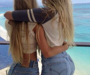 best friends, blonde, and girls image