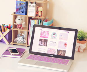 laptop, desk, and pink image