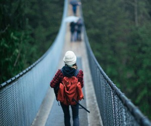 bridge, girl, and lonely image