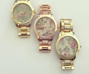 watch, gold, and flowers image