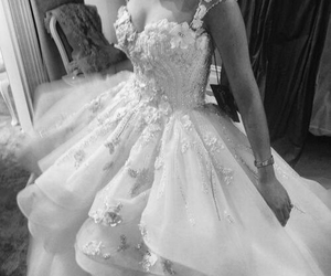 wedding dress, white, and bride image