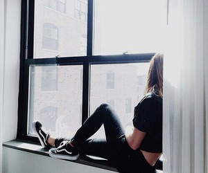 girl, black, and vans image