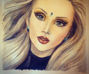 beautiful, blonde, and drawing image