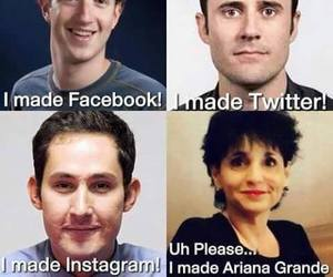 twitter, ariana grande, and facebook image