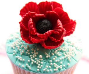 rose, cake, and cupcakes image