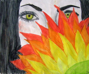 drawing, eye, and flower image