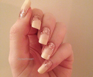 nails, beige, and glitter image