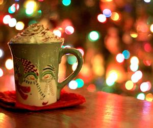 bokeh, christmas, and coffee image