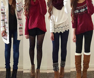 boots, girl, and scarves image