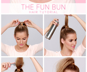tutorial, brunette, and bun image