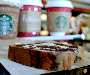 food, cake, and starbucks image