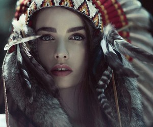 feathers, native american, and girl image