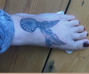 dreamcatcher, foot tattoo, and pretty image