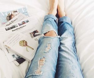 jeans, magazine, and bed image
