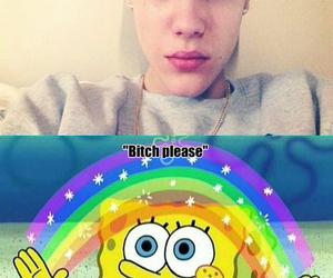 rainbow, spongebob, and justin bieber image
