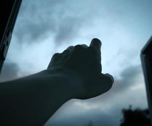 grunge, hand, and sky image