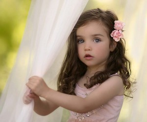 curtain, girl, and pink dress image