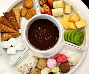 fruit, chocolate, and fondue image