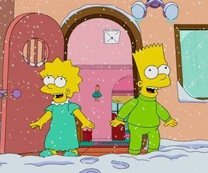 snow, simpsons, and christmas image