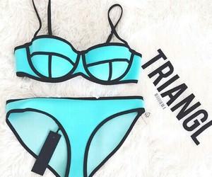 blue, triangl, and bikini image