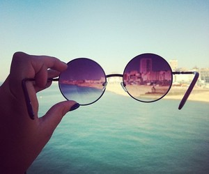 beach, beautiful, and glasses image